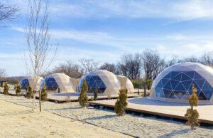煌びやかな180度透明のクリアドームテント