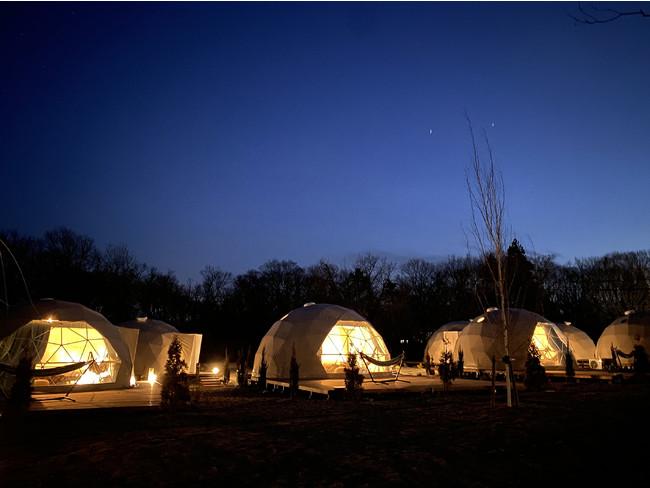 那須ハミルの森施設全体の写真(夜)