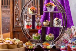 デザートには、「ライチシャーベット」、「蓮茶ゼリー」、「カスタード餡入り白玉団子」、「カボチャタルト」