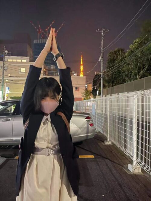 帰りに東京タワーを見つけたのでももちゃんと撮ってみました☆